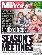 Daily Mirror front page for 25 November 2020