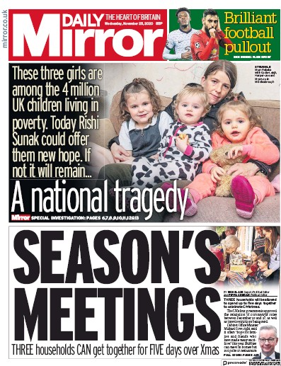 Daily Mirror Newspaper Front Page (UK) for 25 November 2020