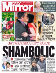 Daily Mirror (UK) Newspaper Front Page for 25 December 2018