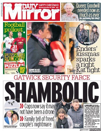Daily Mirror Newspaper Front Page (UK) for 25 December 2018