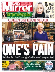 Daily Mirror (UK) Newspaper Front Page for 25 December 2019