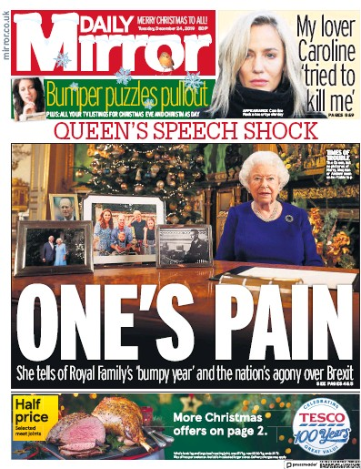 Daily Mirror Newspaper Front Page (UK) for 25 December 2019