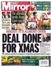 Daily Mirror (UK) Newspaper Front Page for 25 December 2020