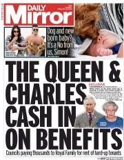 Daily Mirror () Newspaper Front Page for 25 February 2014