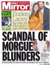 Daily Mirror () Newspaper Front Page for 25 February 2019