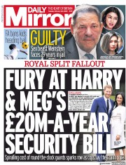 Daily Mirror (UK) Newspaper Front Page for 25 February 2020