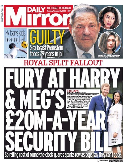 Daily Mirror Newspaper Front Page (UK) for 25 February 2020
