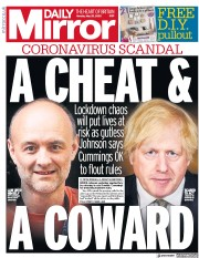 Daily Mirror front page for 25 May 2020