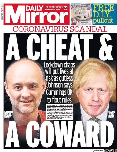 Daily Mirror Newspaper Front Page (UK) for 25 May 2020