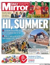 Daily Mirror front page for 25 June 2020