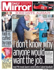 Daily Mirror (UK) Newspaper Front Page for 25 July 2019