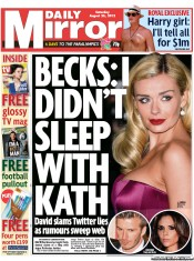 Daily Mirror Newspaper Front Page (UK) for 25 August 2012