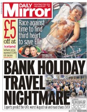 Daily Mirror (UK) Newspaper Front Page for 25 August 2017