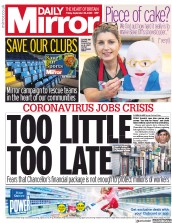 Daily Mirror (UK) Newspaper Front Page for 25 September 2020