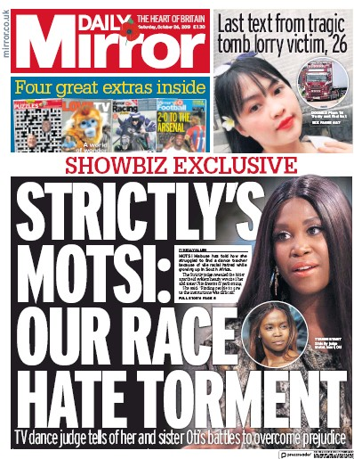 Daily Mirror Newspaper Front Page (UK) for 26 October 2019