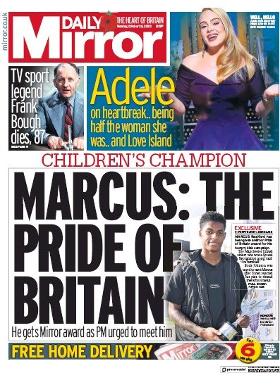 Daily Mirror Newspaper Front Page (UK) for 26 October 2020