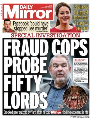 Daily Mirror (UK) Newspaper Front Page for 26 November 2014
