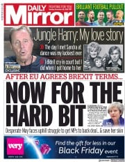 Daily Mirror (UK) Newspaper Front Page for 26 November 2018