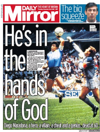 Daily Mirror Newspaper Front Page (UK) for 26 November 2020