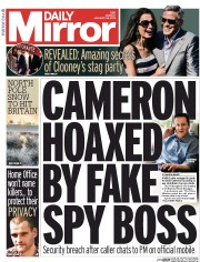 Daily Mirror (UK) Newspaper Front Page for 26 January 2015