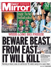 Daily Mirror (UK) Newspaper Front Page for 26 February 2018