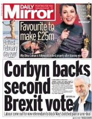 Daily Mirror () Newspaper Front Page for 26 February 2019