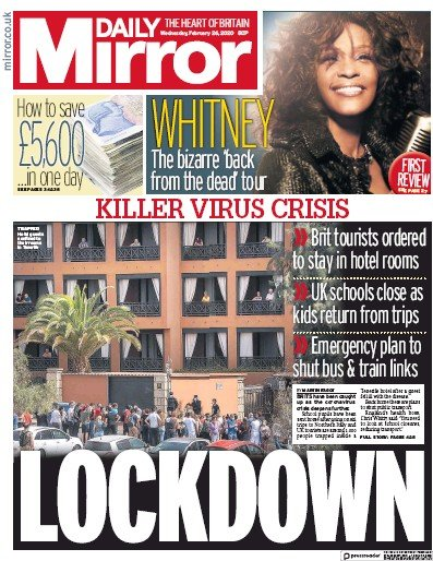 Daily Mirror Newspaper Front Page (UK) for 26 February 2020