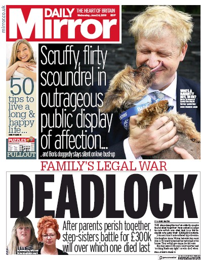 Daily Mirror Newspaper Front Page (UK) for 26 June 2019
