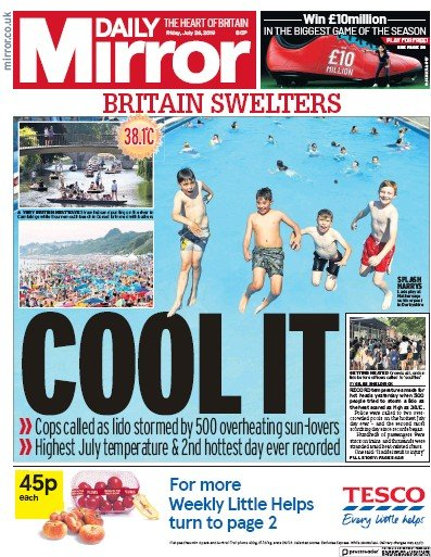 Daily Mirror Newspaper Front Page (UK) for 26 July 2019