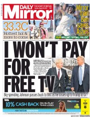 Daily Mirror () Newspaper Front Page for 26 August 2019