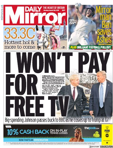 Daily Mirror Newspaper Front Page (UK) for 26 August 2019
