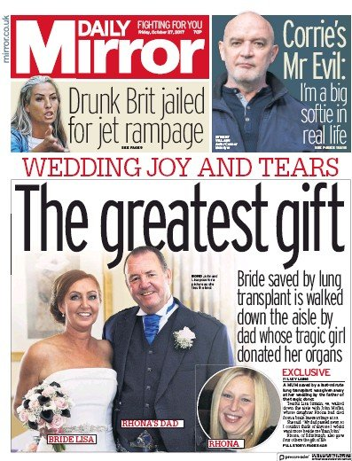 Daily Mirror () Newspaper Front Page for 27 October 2017