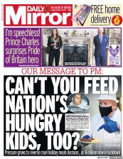 Daily Mirror front page for 27 October 2020