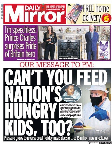 Daily Mirror Newspaper Front Page (UK) for 27 October 2020