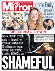 Daily Mirror (UK) Newspaper Front Page for 27 November 2018