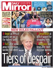 Daily Mirror front page for 27 November 2020