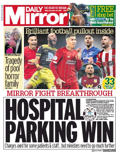 Daily Mirror Newspaper Front Page (UK) for 27 December 2019