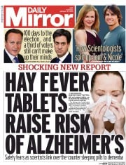 Daily Mirror (UK) Newspaper Front Page for 27 January 2015