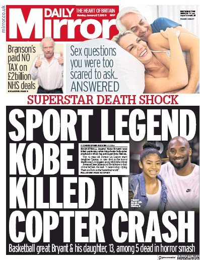 Daily Mirror Newspaper Front Page (UK) for 27 January 2020