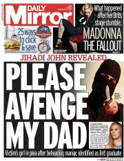 Daily Mirror (UK) Newspaper Front Page for 27 February 2015