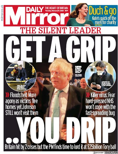 Daily Mirror Newspaper Front Page (UK) for 27 February 2020