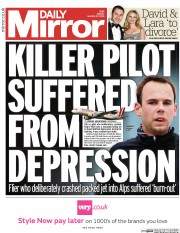 Daily Mirror (UK) Newspaper Front Page for 27 March 2015