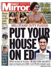 Daily Mirror (UK) Newspaper Front Page for 27 April 2015