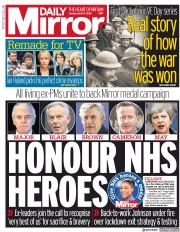 Daily Mirror (UK) Newspaper Front Page for 27 April 2020