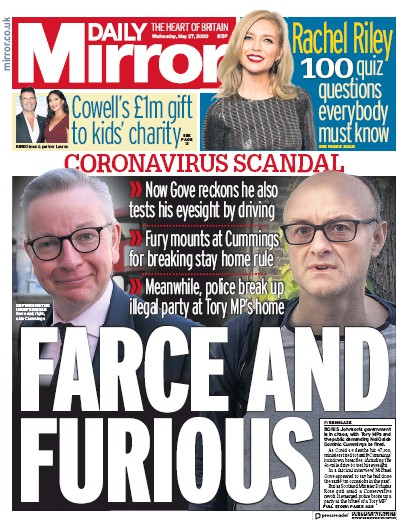 Daily Mirror Newspaper Front Page (UK) for 27 May 2020