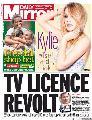 Daily Mirror Newspaper Front Page (UK) for 27 June 2019