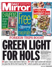 Daily Mirror front page for 27 June 2020