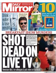 Daily Mirror (UK) Newspaper Front Page for 27 August 2015