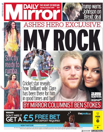 Daily Mirror Newspaper Front Page (UK) for 27 August 2019