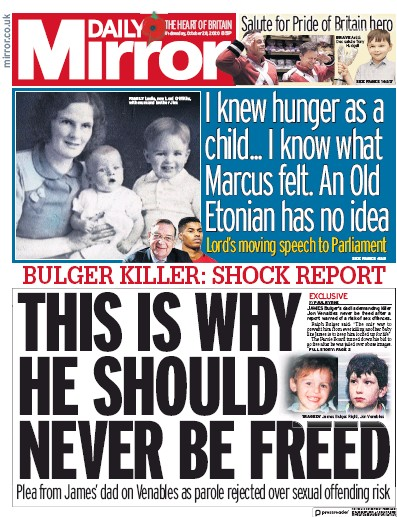 Daily Mirror Newspaper Front Page (UK) for 28 October 2020